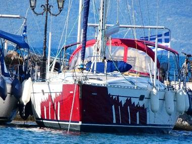 sailboat vitamin sea with skipper in cylades